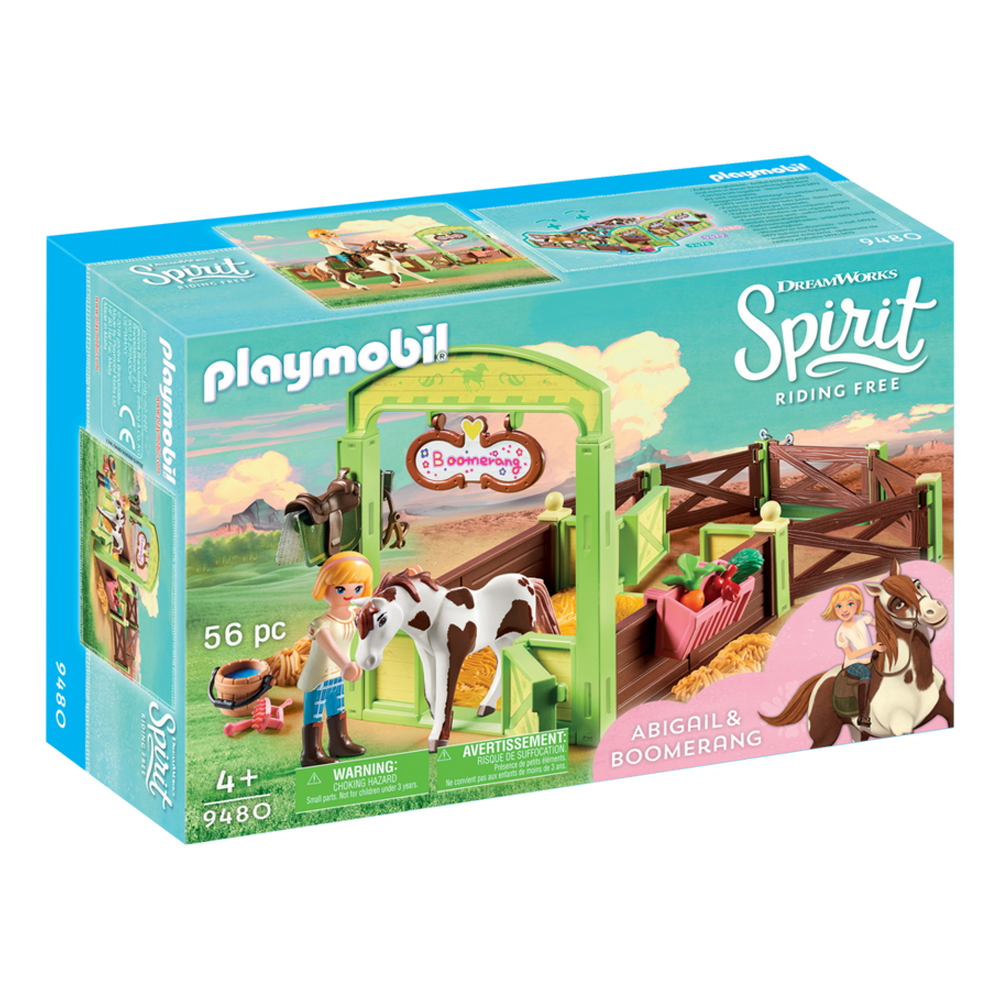 PRU /& Chica Linda with Horse Stall Abigail Boomerang Horse Stall with Coloring Playmat Dimple PlayMobil Mega Spirit Riding Playset for Kids with Spirit Riding Luckys House Room Marciella Figure